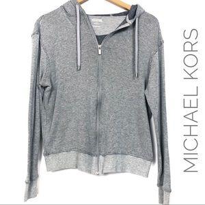Michael Kors Waffle Knit Zip Front Hoodie Jacket
